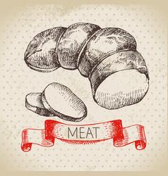 hand drawn sketch meat product vintage ham menu vector image
