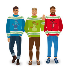 handsome men in christmas sweaters vector image