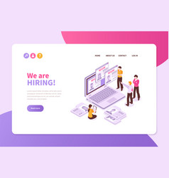 hiring isometric concept banner vector image