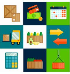 Import export fruits vector