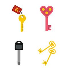 key icon set flat style vector image