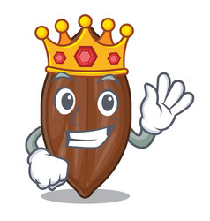 King fresh pecan nuts isolated on mascot vector