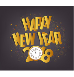 Letter folding with paper and clock happy new vector