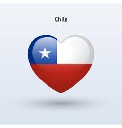 Love Chile symbol Heart flag icon vector