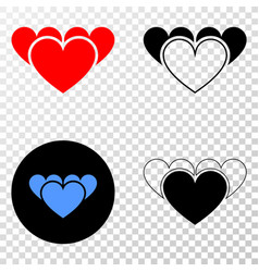 love hearts eps icon with contour version vector image