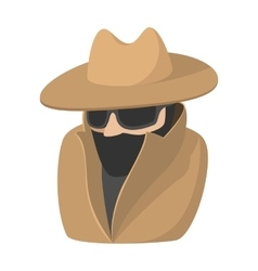 Man in black sunglasses and brown hat cartoon icon vector image