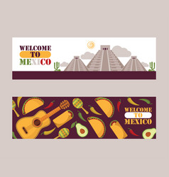 Mexico sightseeing tour banners vector