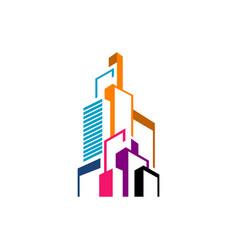 modern colorful realty skyline building logo vector image