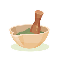 mortar with green medical mixture and wooden vector image
