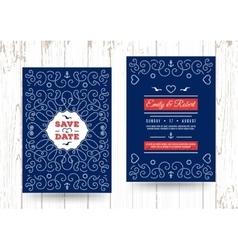 nautical save date cards marine wedding vector image