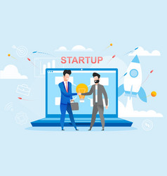 New startup deal people shaking hands each other vector