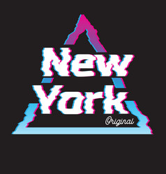 New york city glitch effect retro vector