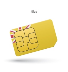 Niue mobile phone sim card with flag vector image