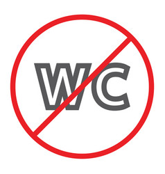 no wc line icon prohibited and closed no vector image