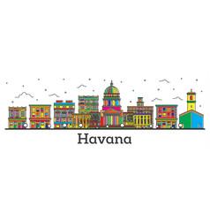 Outline havana cuba city skyline with color vector