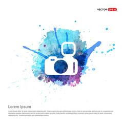 Photo camera icon - watercolor background vector