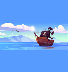 pirate ship with black sails and flag with skull vector image