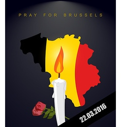Pray for Brussels Map Of Belgium Flag Of Belgium vector image