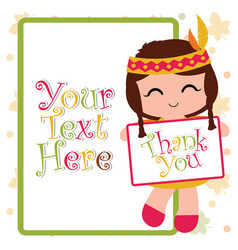 Print cartoon with cute indian girl brings thank vector