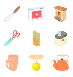 Residential block icons set cartoon style vector