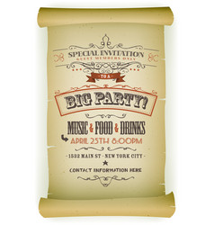 Retro party invitation on parchment vector