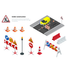 Road repair under construction road signs flat vector