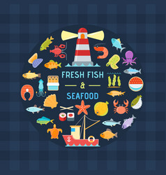 seafood and fish banner vector image