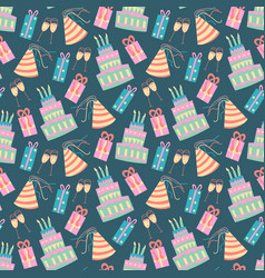 seamless pattern with cake in vector image