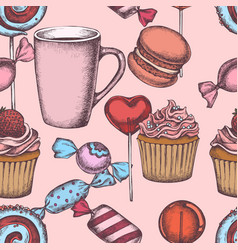 seamless pattern with colored lollipop macaron vector image