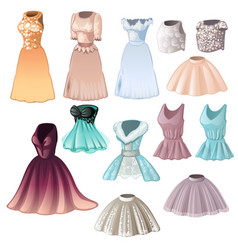set elegant womens dresses and skirts isolated vector image