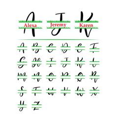 Set initial grass monogram split letter vector