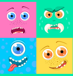 Set of cartoon monster faces with different vector