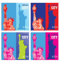 Set of four abstract silhouettes of statue of vector