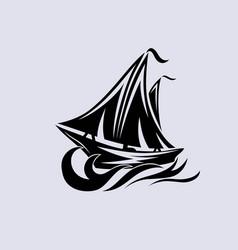 ship logo silhouette vector image