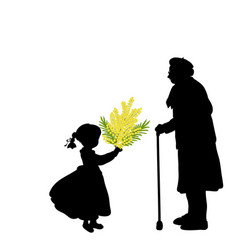 silhouette girl gives grandmother flowers vector image