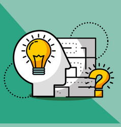 silhouette man idea creativity question solution vector image
