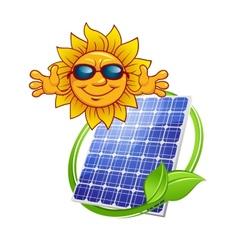 Solar panel with cartoon sun vector
