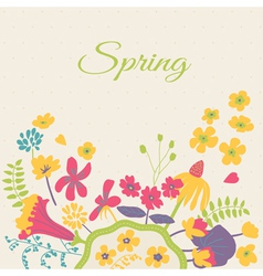 Spring floral cartoon card vector
