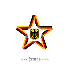 star with germany flag colors and coat arms vector image