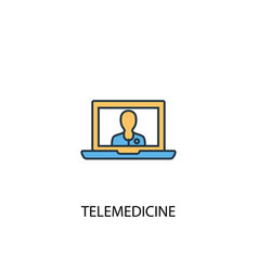 telemedicine concept 2 colored line icon simple vector image