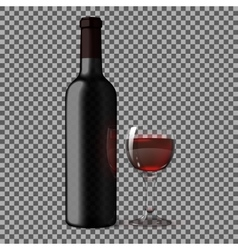 Transparent blank black realistic bottle for red vector image
