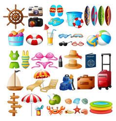 travel and summer holiday icon set vector image