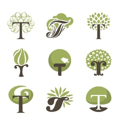 Tree - logo template set vector