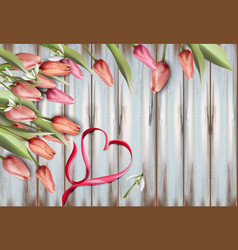 tulips flowers on wooden texture watercolor heart vector image