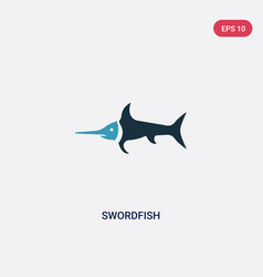 Two color swordfish icon from animals concept vector