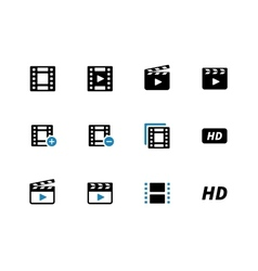 Video duotone icons on white background vector