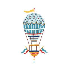 vintage victorian vivid striped air hot balloon vector image
