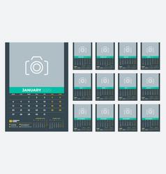 Wall calendar template for 2020 year week starts vector