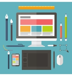 Web and graphic design tools tablet painting vector image