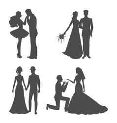 Wedding silhouette black picture bride vector